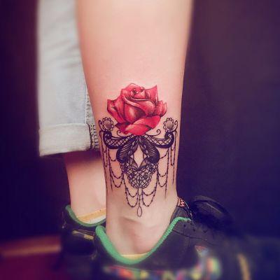 蕾丝.玫瑰纹身款式图