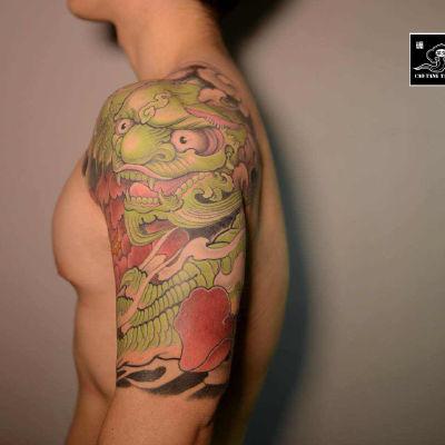 大臂抹茶味唐狮纹身款式图