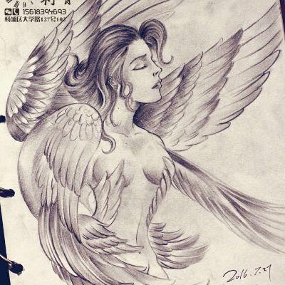 最爱的天使纹身图