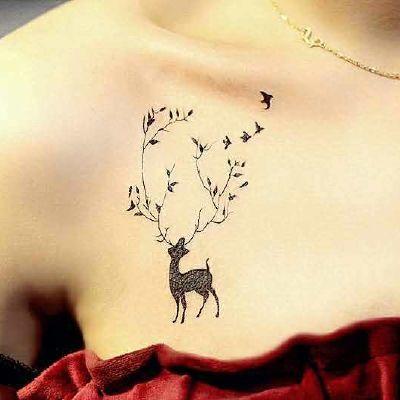 创意动物小图胸部纹身款式图