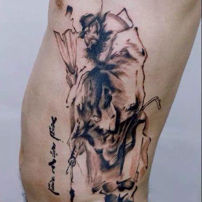 钟馗水墨纹身款式图