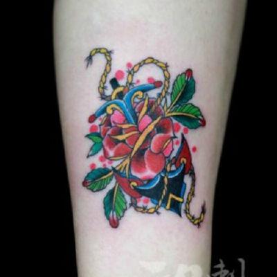 印象刺青-船锚纹身款式图