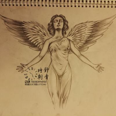 早期天使翅膀纹身图