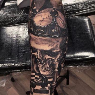 素描骷髅纹身图