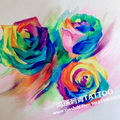 彩色玫瑰纹身图