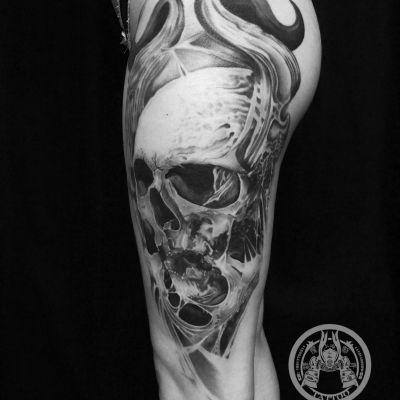 大腿骷髅纹身图