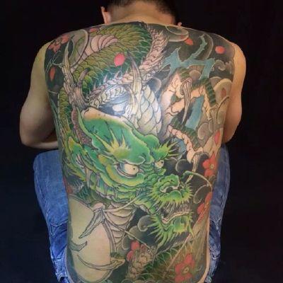 满背龙,传统纹身款式图