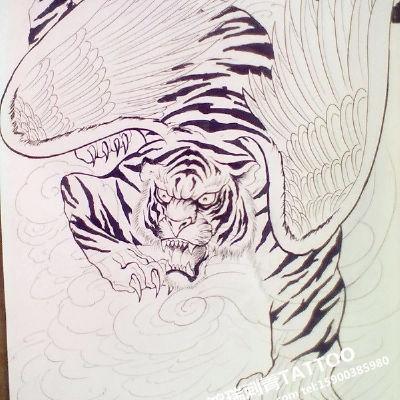 如虎添翼纹身款式图
