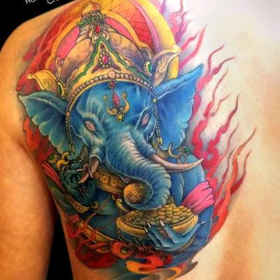 象神纹身图